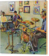 Jazz At The Gallery Wood Print
