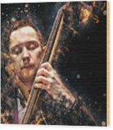 Jazz Bass Player Wood Print