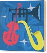 Jazz Composition With Bass, Saxophone And Trumpet Wood Print