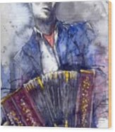 Jazz Concertina Player Wood Print