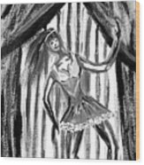 Jazz Dancer In Black  And White Wood Print