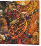 Jazz Gold Jazz Wood Print