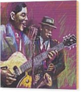 Jazz Guitarist Duet Wood Print