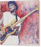 Jazz Guitarist Marcus Miller Red Wood Print