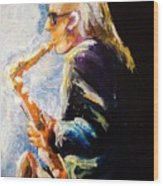Jazz Man Wood Print by Karen  Ferrand Carroll