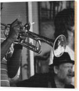 Jazz Men In Black And White Wood Print
