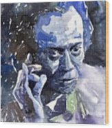 Jazz Miles Davis 11 Blue Wood Print