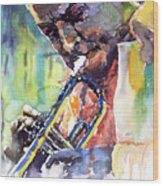 Jazz Miles Davis 9 Blue Wood Print