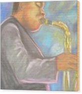 Jazz Musician Wood Print