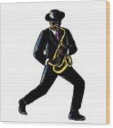 Jazz Musician Playing Saxophone Scratchboard Wood Print
