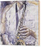 Jazz Muza Saxophon Wood Print