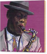 Jazz Saxophonist Wood Print