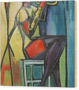 Jazz Trumpet Player Wood Print