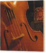 Jazz Upright Bass Wood Print