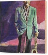 Jazzman Ben Webster Wood Print by David Lloyd Glover