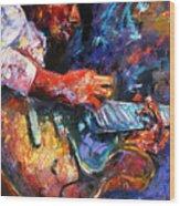 Jazzy Guitar Wood Print