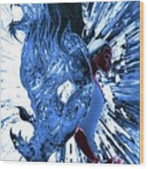 Jd And Leo- Inverted Ice Blue Wood Print