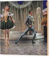 Jealous Stepsister Ballerinas En Pointe With Guests At The Ball  Wood Print