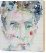 Jean Cocteau - Watercolor Portrait.2 Wood Print