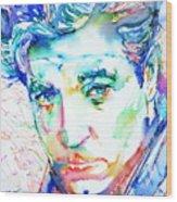 Jean Gabin - Colored Pens Portrait Wood Print
