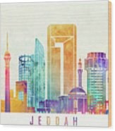 Jeddah Landmarks Watercolor Poster Wood Print