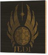 Jedi Symbol - Star Wars Art, Brown Wood Print