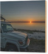 Jeep Driver Watching Sunset Over Peaceful River Wood Print