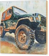 Jeep Wrangler Watercolor Wood Print