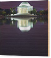 Jefferson Memorial Across The Pond At Night 4 Wood Print by Val Black Russian Tourchin