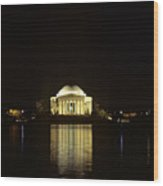 Jefferson Memorial At Night, Reflected Wood Print