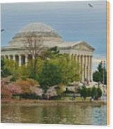 Jefferson Memorial, Springtime In Dc Is When Things Bloom, Like The Japanese Cherry Trees Wood Print