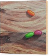 Jelly Beans On Wood Wood Print