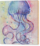 Jelly Fish Watercolor Wood Print