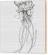 Jellyfish Sketch - Black And White Nautical Theme Decor Wood Print