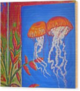 Jellyfish With Flowers Wood Print