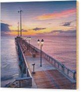 Jennette's Pier - Dawn 7080 Wood Print