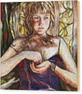 Girl And Bird Painting Wood Print