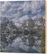 Jenny Lake And The Cathedral Wood Print