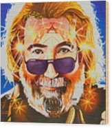 Jerry Garcia-dark Star Wood Print
