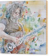 Jerry Garcia - Watercolor Portrait.15 Wood Print