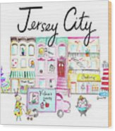 Jersey City Wood Print