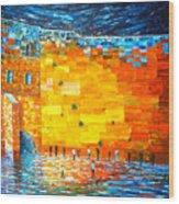 Jerusalem Wailing Wall Original Acrylic Palette Knife Painting Wood Print