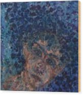 Jess In Blue Wood Print