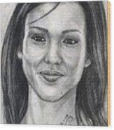 Jessica Alba Portrait Wood Print