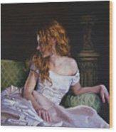 Jessica Daydreaming Wood Print by Jean Hildebrant