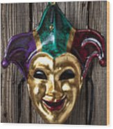 Jester Mask Hanging On Wooden Wall Wood Print