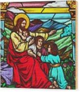 Jesus And Children Wood Print
