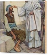 Jesus And The Blind Man Wood Print