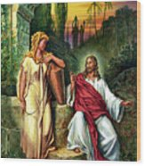 Jesus And The Woman At The Well Wood Print