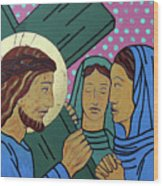 Jesus And The Women Of Jerusalem Wood Print